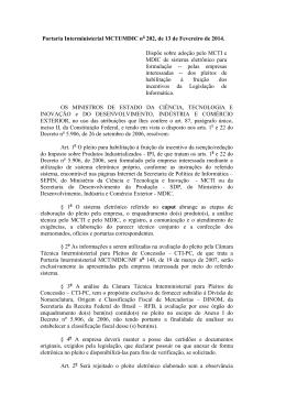 Portaria Interministerial MCTI/MDIC n 202, de 13 de Fevereiro de