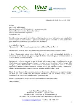 Minas Gerais, 26 de fevereiro de 2014 Prezada Cata