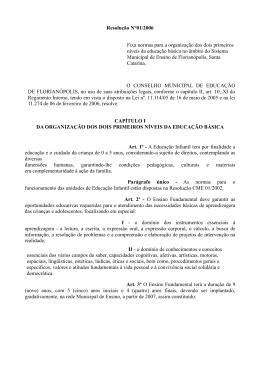 Resolução N°01/2006 Fixa normas para a organização dos dois