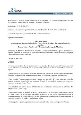 Argélia Acordo entre o Governo da República Federativa do