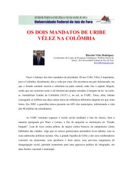 OS DOIS MANDATOS DE URIBE VÉLEZ NA COLÔMBIA