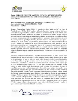 Título: OS HOMENS DIANTE DA UNIÃO ESTÁVEL - CRP-RJ