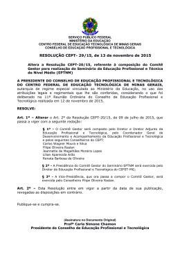 RESOLUÇÃO CEPT- 29/15, de 13 de novembro - DEPT - Cefet-MG