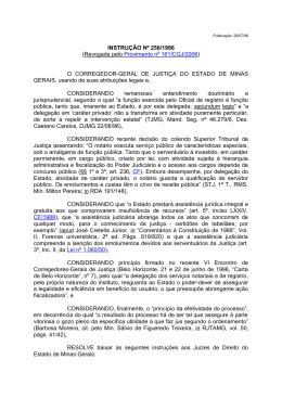 INSTRUÇÃO Nº 256/1996 - Tribunal de Justiça de Minas Gerais