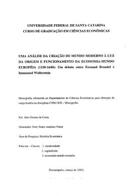 CURSO DE GRADUAÇAO EM CIENCIAS ECONOMICAS