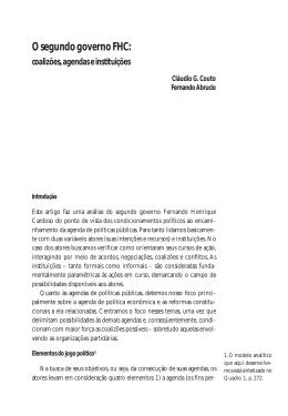 O segundo governo FHC: coalizões, agendas e instituições