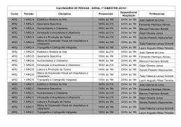 CALENDÁRIO DE PROVAS - GERAL 1º BIMESTRE