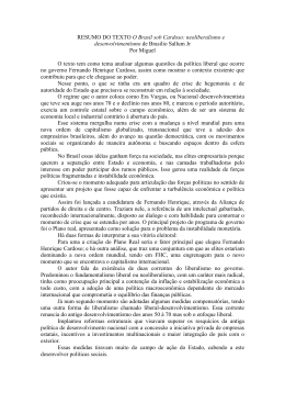 RESUMO DO TEXTO O Brasil sob Cardoso