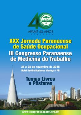XXX Jornada Paranaense de Saúde Ocupacional XXX Jornada
