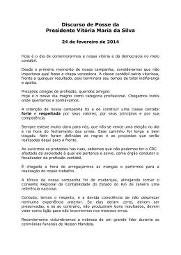 Discurso de Posse da Presidente Vitória Maria da Silva