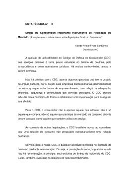 NOTA TÉCNICA n° 3 Direito do Consumidor: Importante