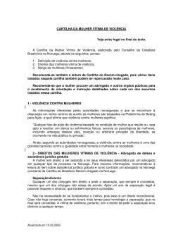 CARTILHA DA MULHER VÍTIMA DE VIOLÊNCIA Veja aviso legal no