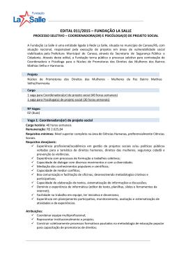 EDITAL 011/2015 – FUNDAÇÃO LA SALLE