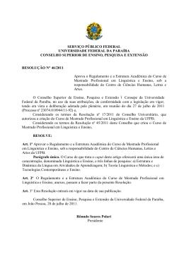 resolução nº 46/2011 - Universidade Federal da Paraíba