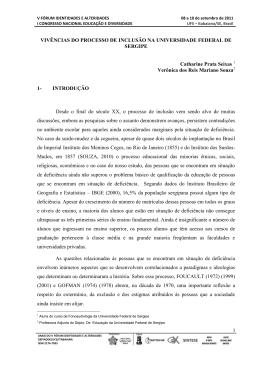 VIVÊNCIAS DO PROCESSO DE INCLUSÃO NA UNIVERSIDADE