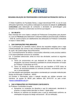 SEGUNDA SELEÇÃO DE PROFESSORES