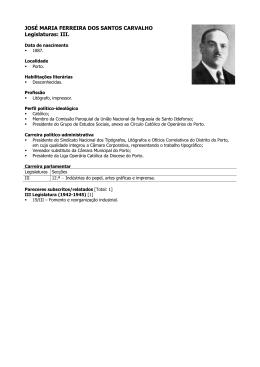 JOSÉ MARIA FERREIRA DOS SANTOS CARVALHO Legislaturas: III.