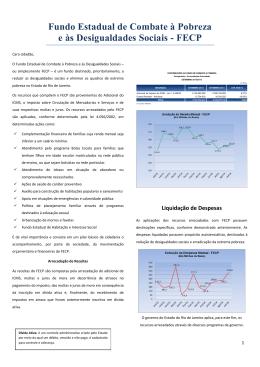 Relatório Prestando Contas ao Cidadão - FECP