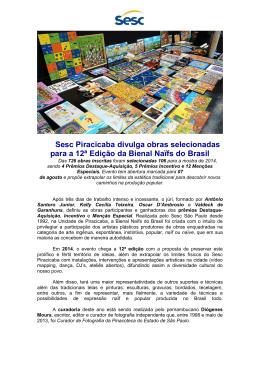Sesc Piracicaba divulga obras selecionadas para a 12ª Edição da