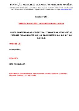 FUNDAÇÃO MUNICIPAL DE ENSINO SUPERIOR DE MARÍLIA