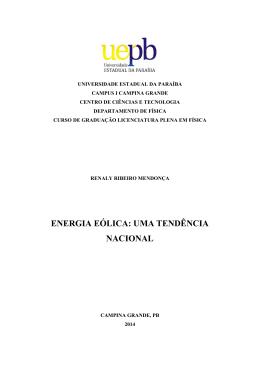 ENERGIA EÓLICA: UMA TENDÊNCIA NACIONAL