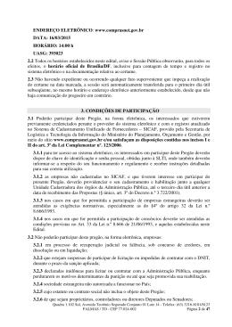 ENDEREÇO ELETRÔNICO: www.comprasnet.gov.br DATA: 16/03