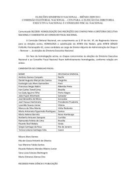 COMISSÃO ELEITORAL NACIONAL – CEN PARA A