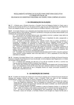 Veja minuta Regulamento Interno Eleições Biênio 2014-2016