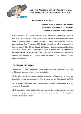 Edital CMDCA nº 001/2015