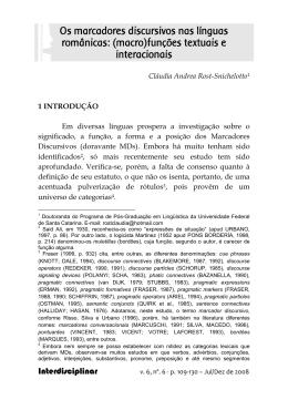 Os marcadores discursivos nas línguas românicas: (macro)funções
