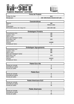 Ficha de Produto Características Embalagem