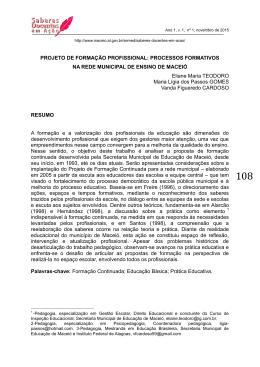 projeto de formação profissional: processos formativos na rede