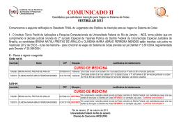 Comunicado II - Candidatos PIVSC
