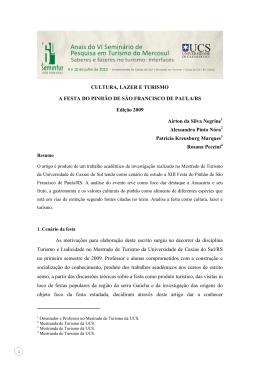 cultura, lazer e turismo - a festa do pinhão de são francisco de paula/rs