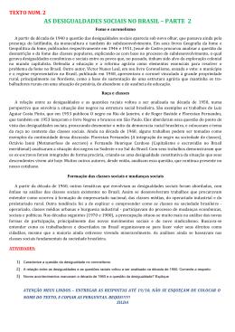AS DESIGUALDADES SOCIAIS NO BRASIL – PARTE 2