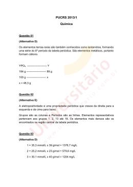 PUCRS 2013/1 | Resolução da Prova de Química