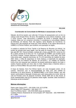 Coordenador da Comunidade de Miritituba é assassinado no Pará