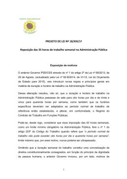 PROJETO DE LEI Nº 18/XIII/1ª Reposição das 35 horas de trabalho