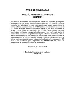 aviso de revogação pregão presencial nº 9/2015 senai/dn