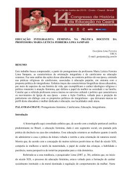 EDUCAÇÃO INTEGRALISTA FEMININA NA PRÁTICA