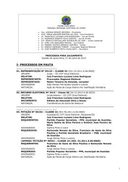 I- PROCESSOS EM PAUTA - Tribunal Regional Eleitoral do Ceará