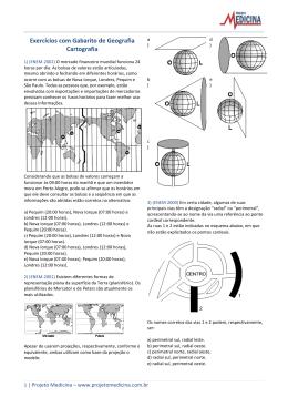 Exercícios com Gabarito de Geografia Cartografia