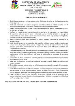 1 CONCURSO PÚBLICO Nº 003/2015 CADERNO DE