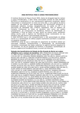 INSS NOTIFICA PARA O CENSO PREVIDENCIÊRIO O Instituto