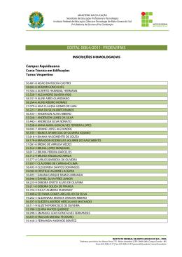 Edital 008.4 - Inscrições homologadas - 21/12/2011