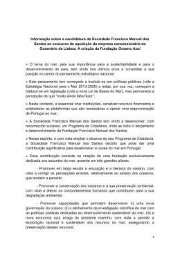Informação sobre a candidatura da Sociedade Francisco Manuel