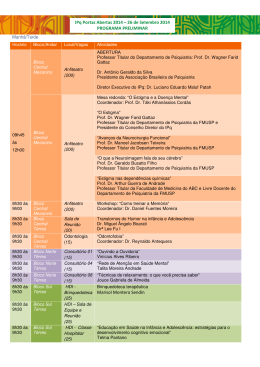 IPq Portas Abertas 2014 – 26 de Setembro 2014 PROGRAMA