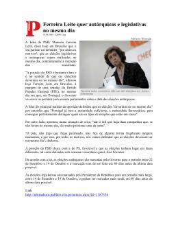 Ferreira Leite quer autárquicas e legislativas no mesmo dia