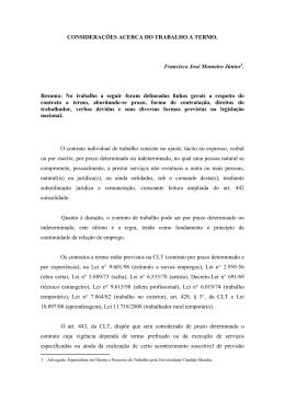 CONSIDERAÇÕES ACERCA DO TRABALHO A TERMO. Francisco