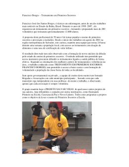 Francisco Borges – Treinamento em Primeiros Socorros Francisco